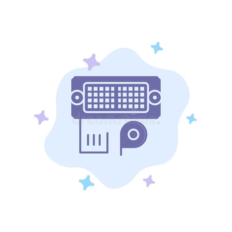 Adaptador, conexión, datos, icono azul entrado en fondo abstracto de la nube ilustración del vector