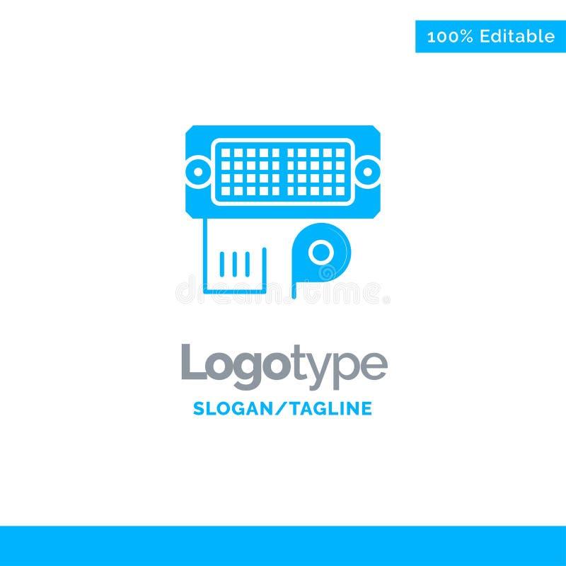 Adaptador, conexión, datos, Logo Template sólido azul entrado Lugar para el Tagline ilustración del vector