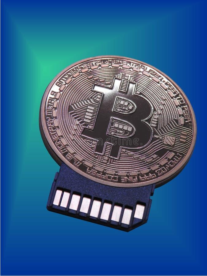 Adaptador de la tarjeta de Bitcoin Sd imagen de archivo libre de regalías