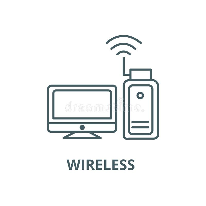 Adaptador de los Wi fi, línea inalámbrica icono, concepto linear, muestra del esquema, símbolo del vector libre illustration