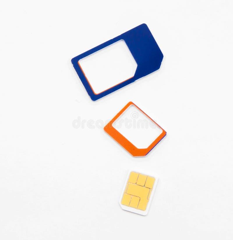 Adaptador nano micro estándar de la tarjeta de Sim fotos de archivo