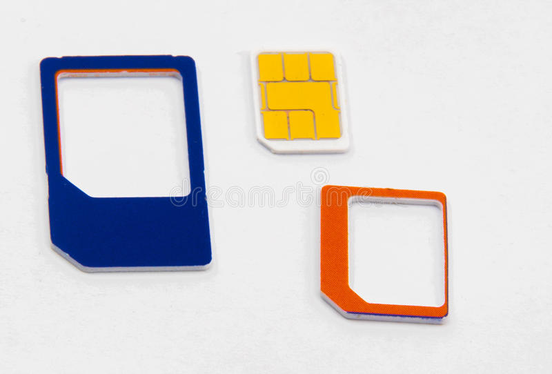 Adaptador nano micro estándar de la tarjeta de Sim imagen de archivo libre de regalías