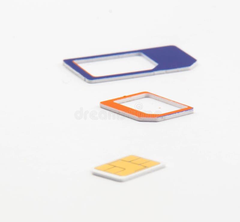 Adaptador nano micro estándar de la tarjeta de Sim imagen de archivo
