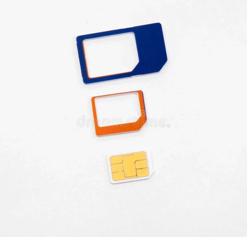 Adaptador nano micro estándar de la tarjeta de Sim foto de archivo