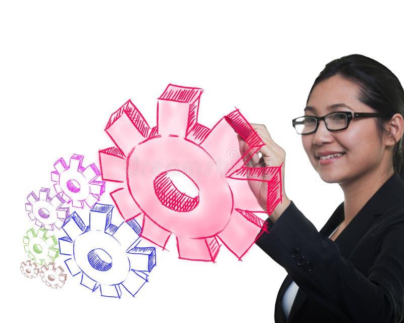 Adaptation de retrait de femme d'affaires à la réussite photographie stock libre de droits