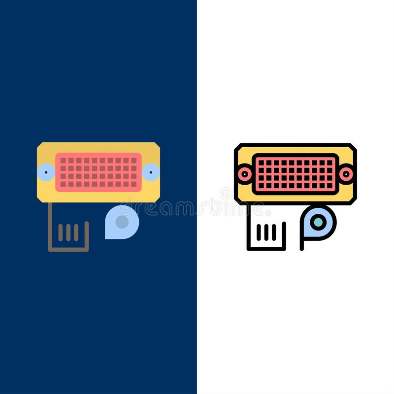 Adaptator, związek, dane, wkład ikony Mieszkanie i linia Wypełniający ikony Ustalony Wektorowy Błękitny tło ilustracja wektor