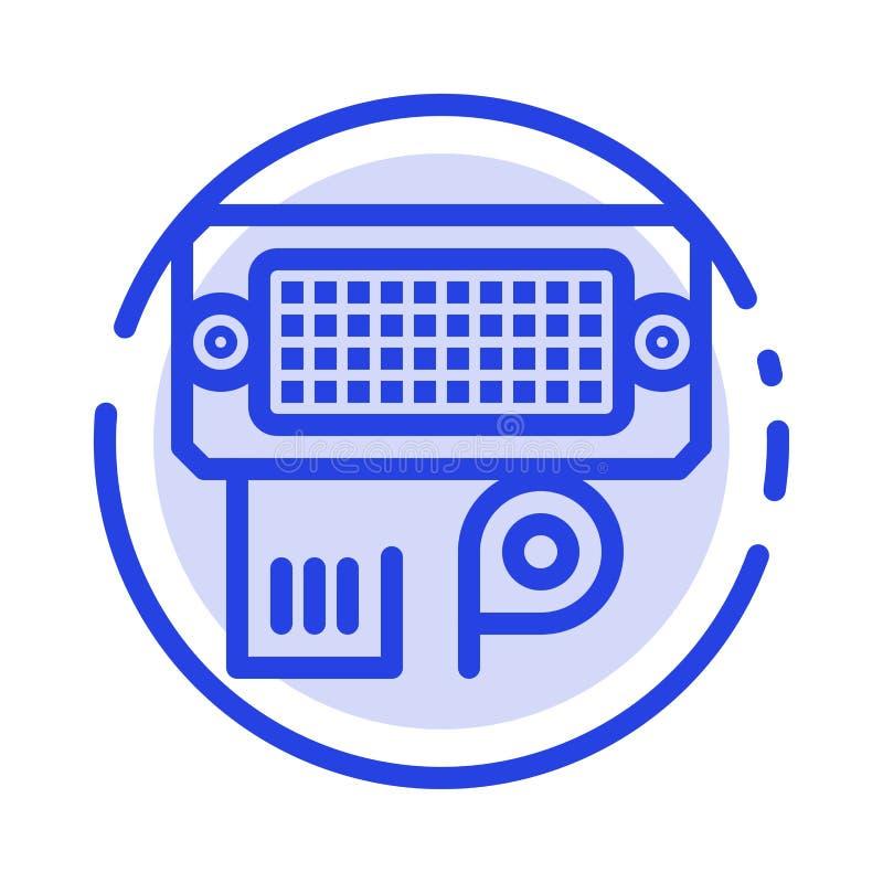 Adaptator, związek, dane, wkład linii linii błękit Kropkująca ikona ilustracja wektor