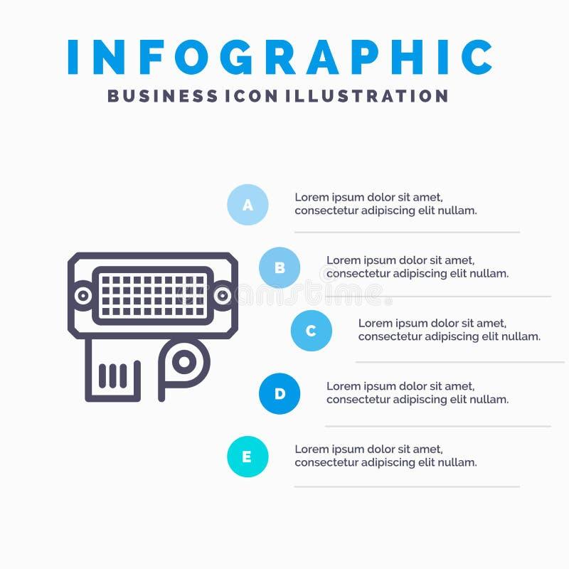 Adaptator, związek, dane, wkład linii ikona z 5 kroków prezentacji infographics tłem ilustracji