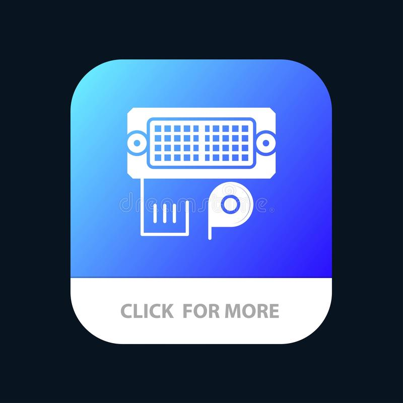 Adaptator, związek, dane, wkładu App Mobilny guzik Android i IOS glifu wersja royalty ilustracja