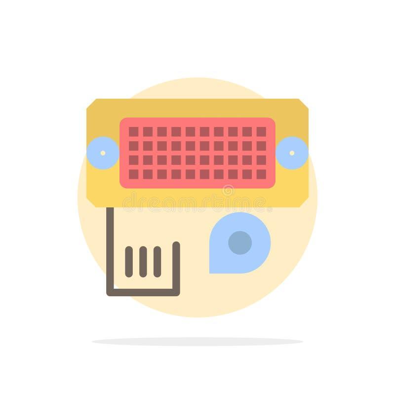 Adaptator, związek, dane, wkładu okręgu Abstrakcjonistycznego tła koloru Płaska ikona ilustracji