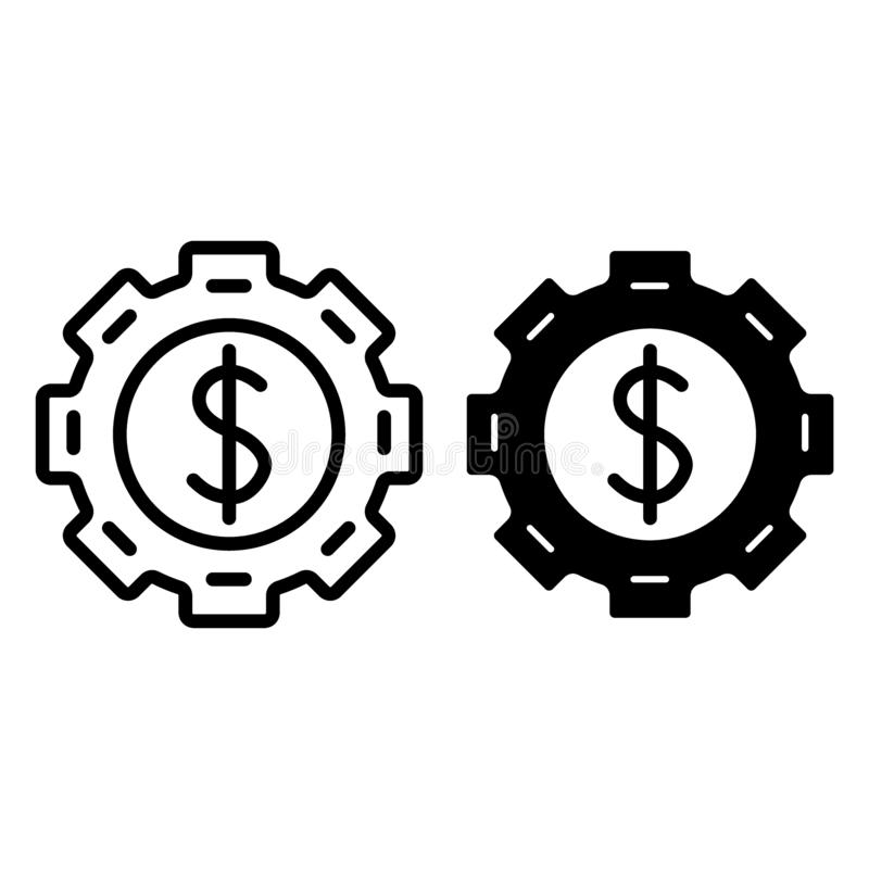 Adapte con el dólar dentro de la línea y del icono del glyph Rueda dentada con el ejemplo del vector de la muestra de dólar aisla stock de ilustración