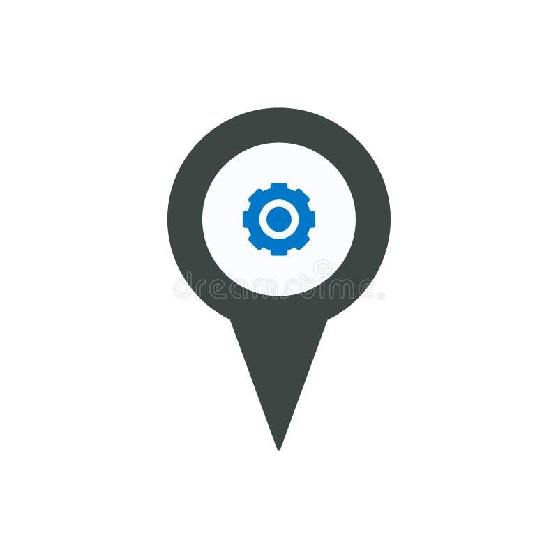 Adapte el icono del ajuste del indicador del lugar del perno del marcador de la ubicación stock de ilustración