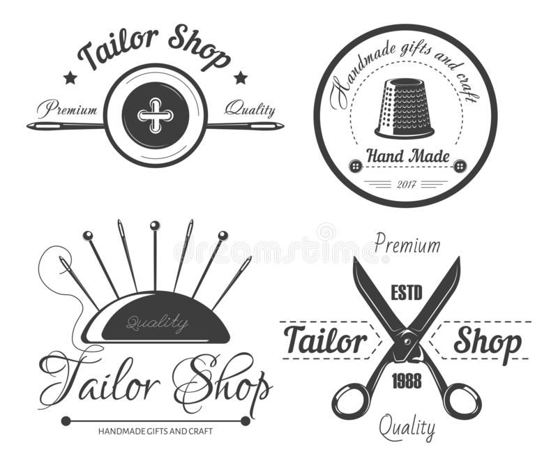 Adapte el logotipo de la tienda para el taller de la modista y forme el salón del diseñador de la adaptación del vestido ilustración del vector