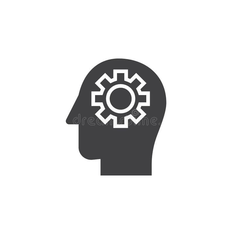 Adapte en el vector principal del icono, muestra plana llenada, pictograma sólido stock de ilustración