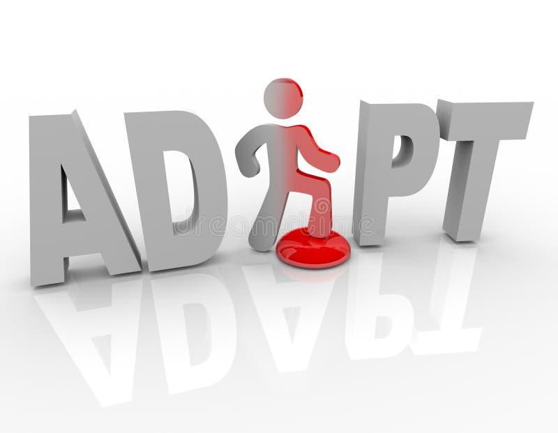 Adapte - etapas do homem em mudanças do botão para o sucesso ilustração royalty free