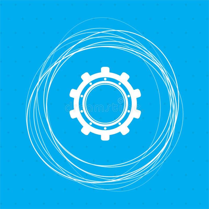 Adapte, icono del diente en un fondo azul con los círculos abstractos alrededor y el lugar para su texto stock de ilustración