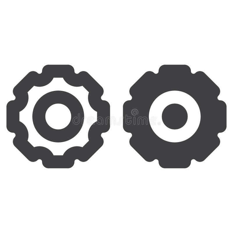 Adapte, línea gruesa de la rueda dentada e icono sólido, esquema y pictograma llenado de la muestra del vector, linear y lleno ai stock de ilustración
