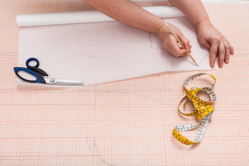 Adapte las copias un modelo de la ropa en el papel de trazo fotos de archivo