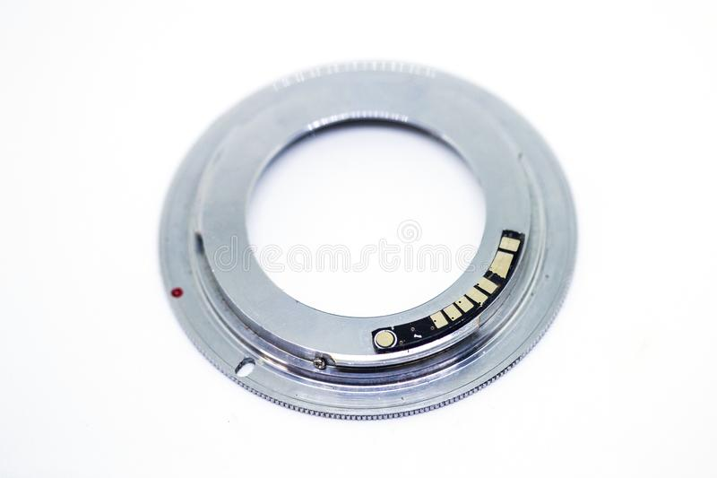 Adapter for Canon cameras. With this adapter on Canon cameras can use lenses designed for other systems. The adapter is embedded in chip, supporting the focus royalty free stock images