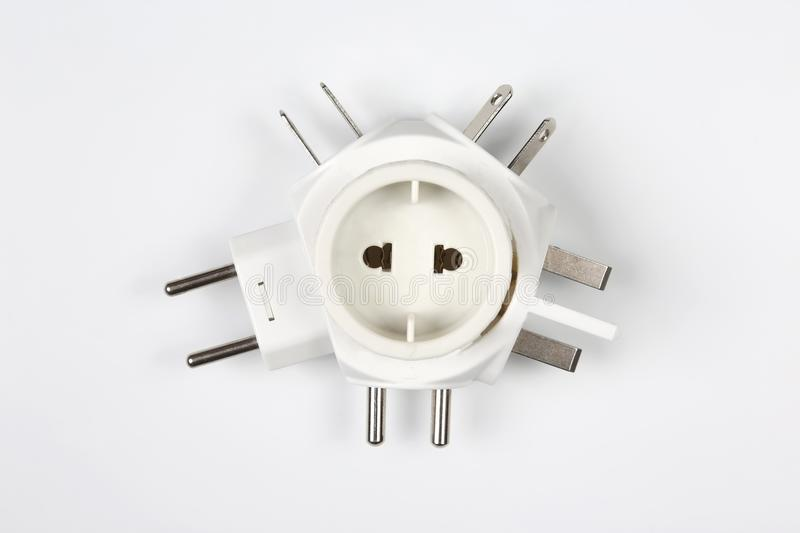 Adapter for different electrical plugs royalty free stock photography