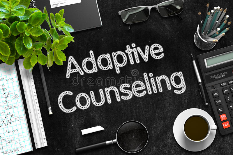 Adaptive Counseling on Black Chalkboard. 3D Rendering. Adaptive Counseling Concept on Black Chalkboard. 3d Rendering royalty free stock images