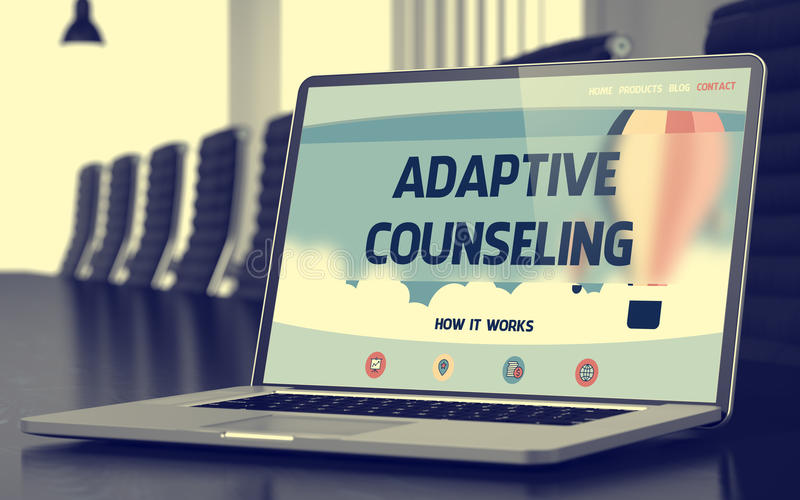 Adaptive Counseling Concept on Laptop Screen. 3D. Adaptive Counseling Concept. Closeup Landing Page on Mobile Computer Display on Background of Meeting Room in stock images