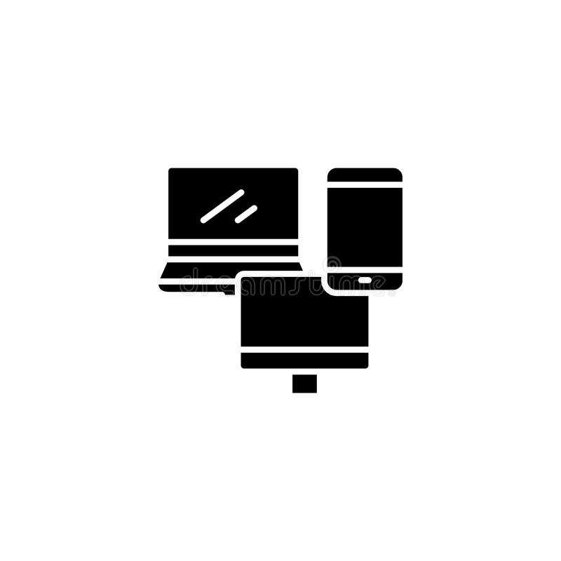 Adaptive design black icon concept. Adaptive design flat vector symbol, sign, illustration. vector illustration