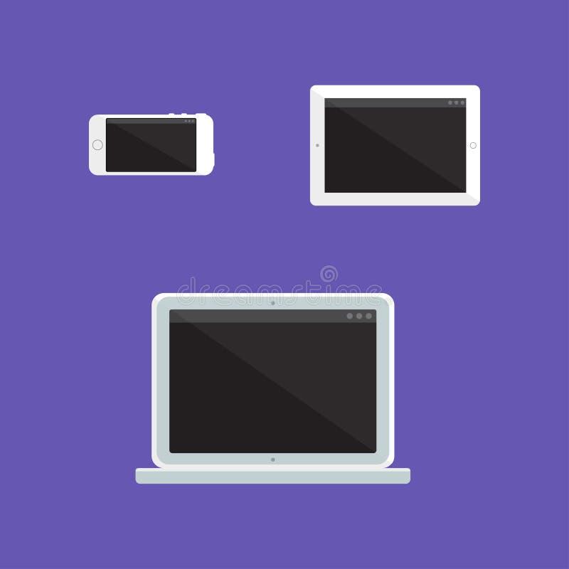 Adaptive Design Web Template. Adaptive Design Mockup. Gadget and Device Elements. White Smartphone, Tablet, Notebook Mock-up. Flat minimalistic pad, phone vector illustration