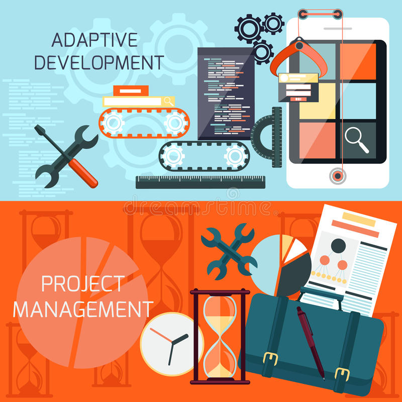 Adaptive development and project management vector illustration