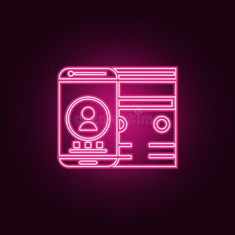 adaptive interface icon. Elements of Web Development in neon style icons. Simple icon for websites, web design, mobile app, info royalty free illustration