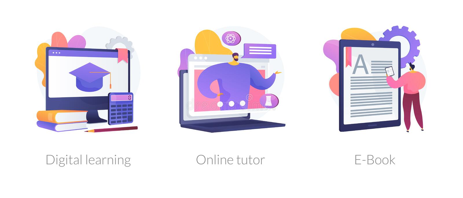 Adaptive learning vector concept metaphors. Internet school graduation, professional teacher service, electronic book device icons set. Digital learning, online vector illustration