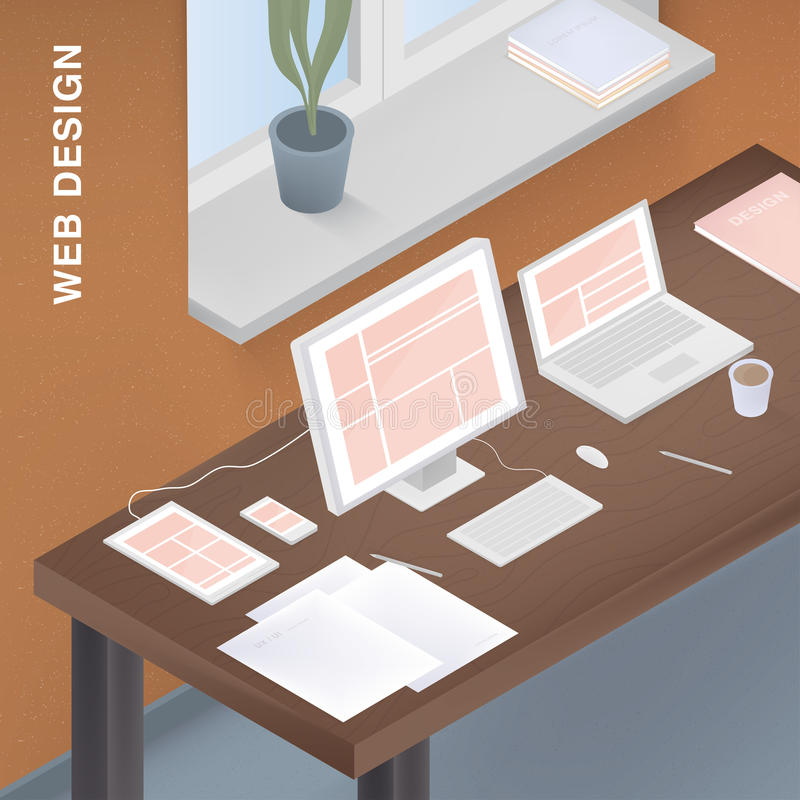 Adaptive web design for different devices. Colorful vector illustration with responsive design on computer, tablet vector illustration