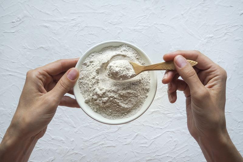 Adaptogens Ashwagandha in a bowl. Nutrition supplement. Adaptogens Ashwagandha in a bowl. Nutrition supplement royalty free stock image
