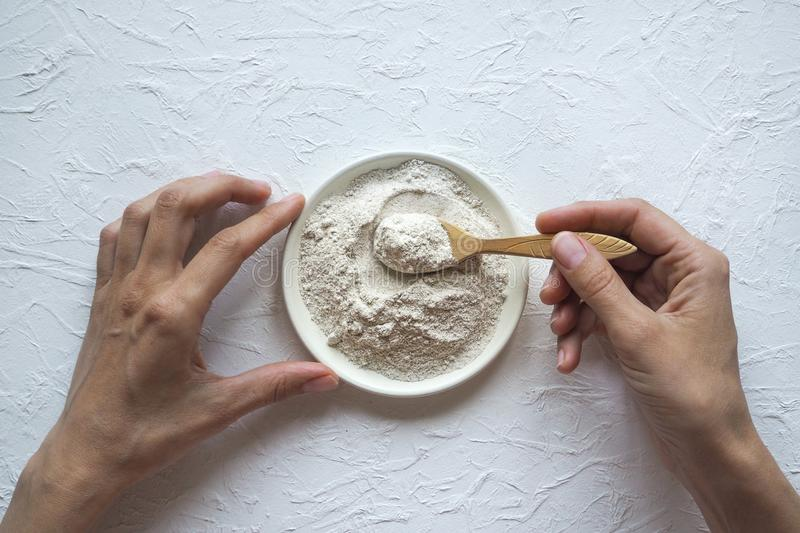 Adaptogens Ashwagandha in a bowl. Nutrition supplement. Adaptogens Ashwagandha in a bowl. Nutrition supplement stock images