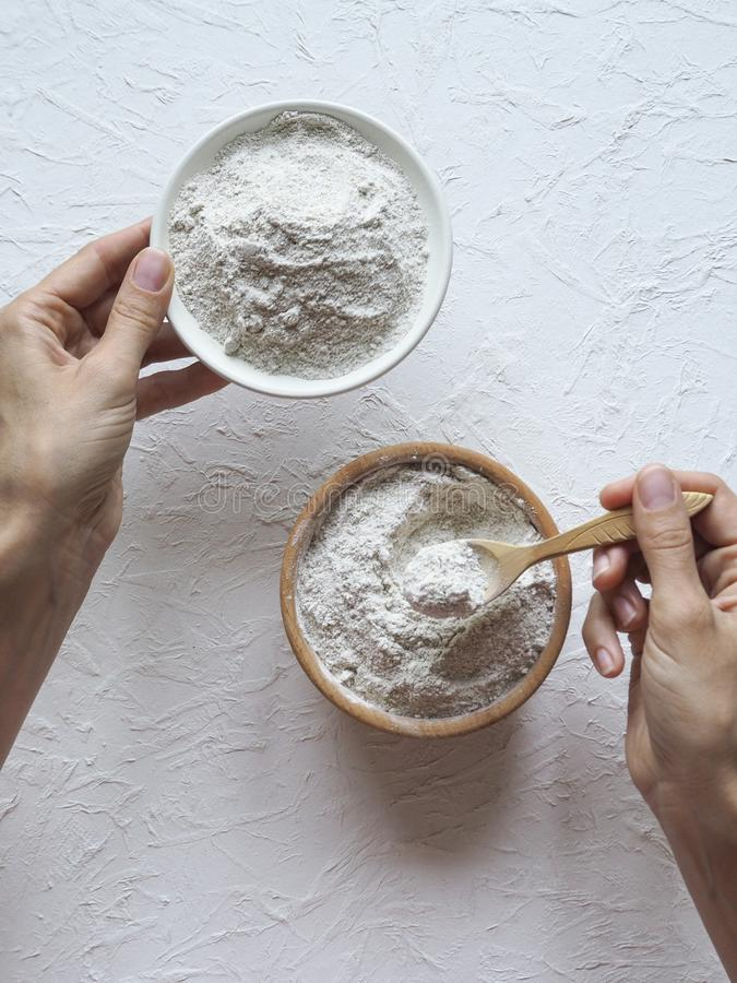 Adaptogens Ashwagandha in a bowl. Nutrition supplement. Adaptogens Ashwagandha in a bowl. Nutrition supplement stock photos
