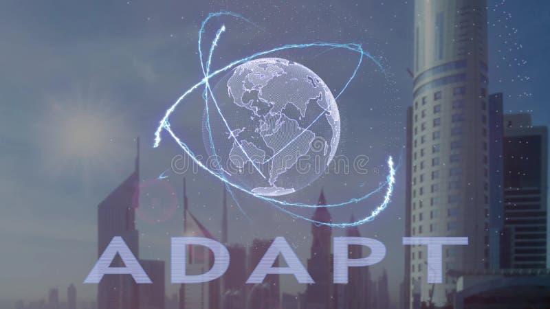 Adaptuje tekst z 3d hologramem planety ziemia przeciw t?u nowo?ytna metropolia royalty ilustracja