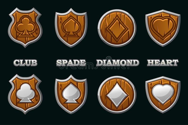 Adatta il mazzo di carte da gioco su uno scudo di legno con telaio d'argento isolato Icone dei simboli di Vector Poker royalty illustrazione gratis