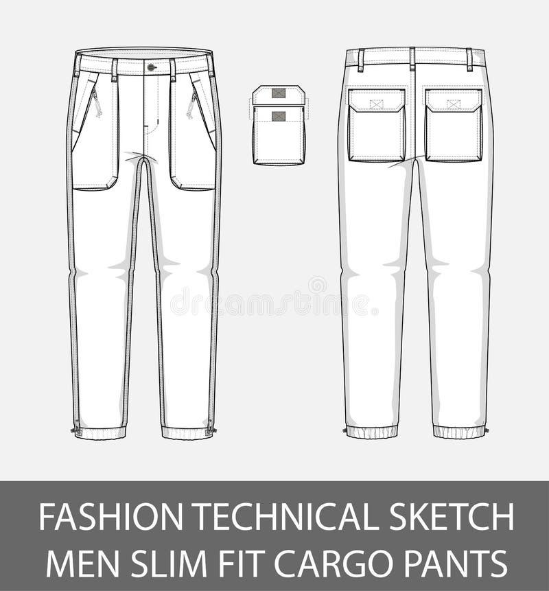 Adatti ad uomini tecnici di schizzo i pantaloni esili del carico di misura con 2 tasche applicate illustrazione vettoriale