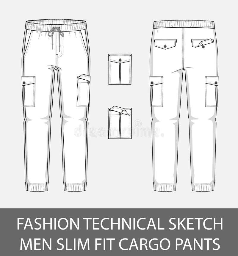 Adatti ad uomini tecnici di schizzo i pantaloni esili del carico di misura con 2 tasche applicate illustrazione di stock