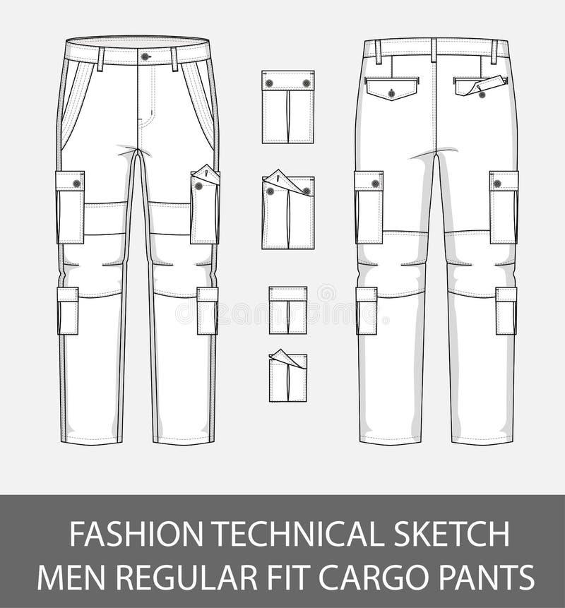 Adatti ad uomini tecnici di schizzo i pantaloni esili del carico di misura con 4 tasche applicate illustrazione di stock