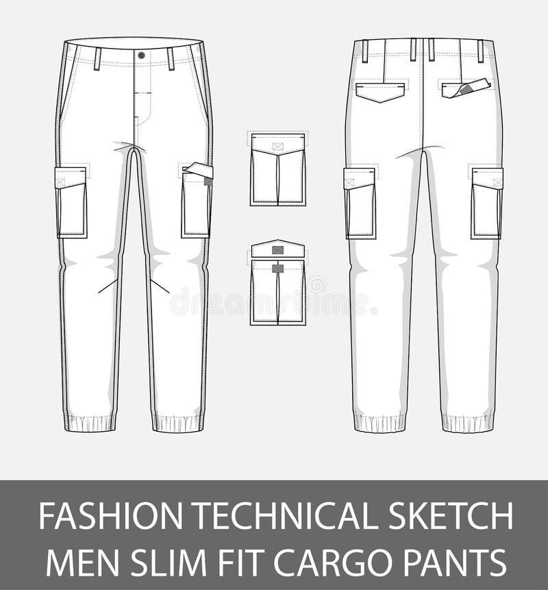 Adatti ad uomini tecnici di schizzo i pantaloni esili del carico di misura con 2 tasche applicate royalty illustrazione gratis