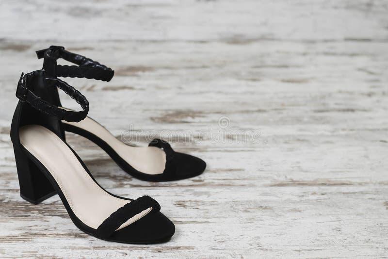 Adatti a donne di stile lo spazio della copia dei talloni del nero di scarpe del nero del ` s fotografia stock libera da diritti