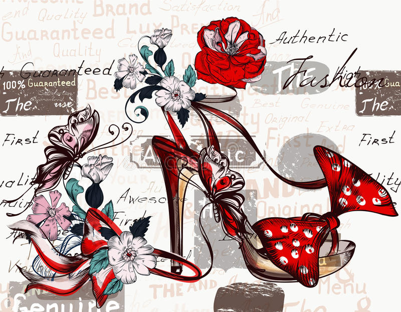 Adatti a fondo di vettore con le scarpe femminili sull'i tacchi alti royalty illustrazione gratis