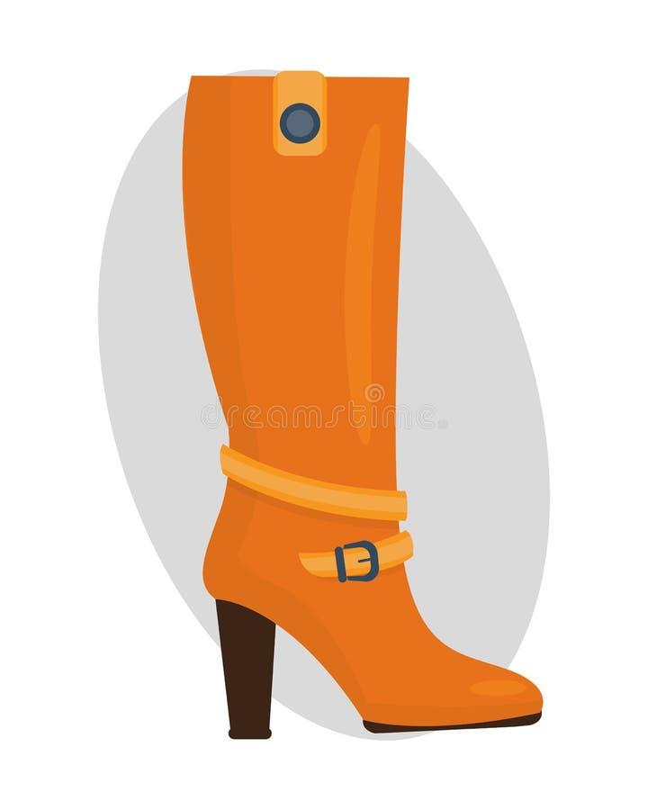 Adatti gli stivali arancio femminili ha isolato l'illustrazione casuale di vettore dell'abbigliamento di autunno del piede royalty illustrazione gratis