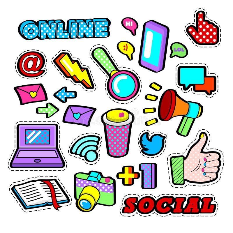 Adatti i distintivi, le toppe, autoadesivi messi con gli elementi di rete sociale - il computer portatile, megafono nello schiocc illustrazione vettoriale