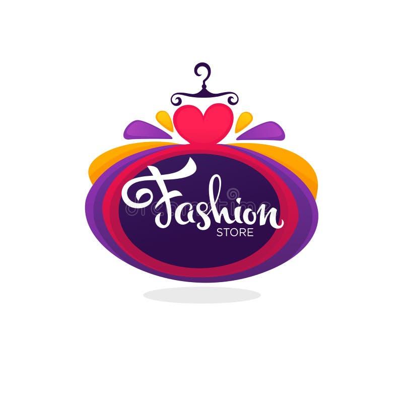 Adatti il boutique ed immagazzini il logo, l'etichetta, emblema con il ballo luminoso illustrazione vettoriale