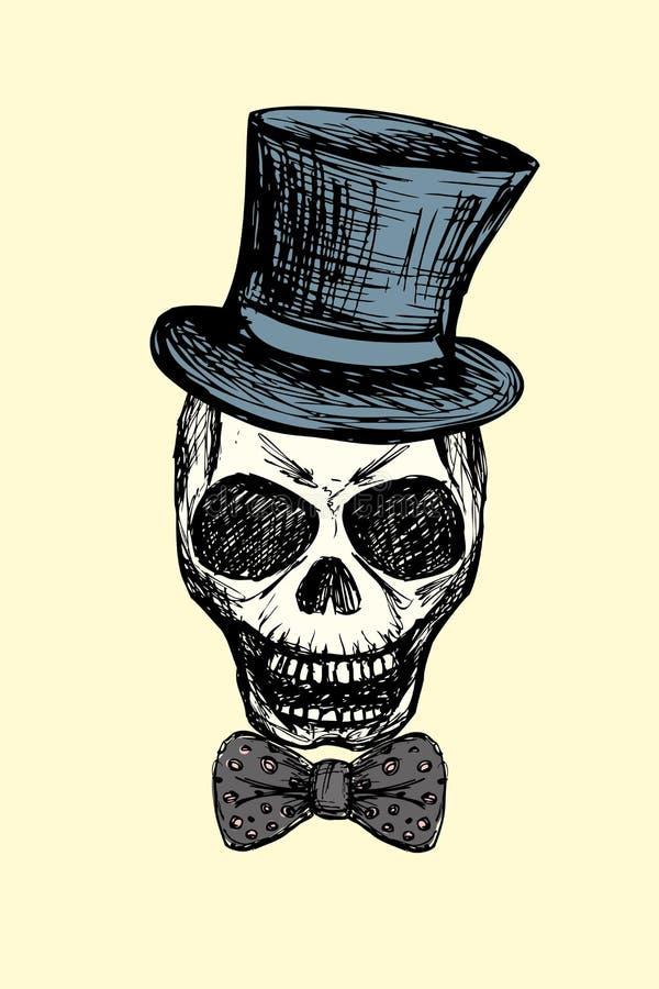 Adatti il cranio con il farfallino ed il retro cappello, isolati su backg bianco illustrazione vettoriale