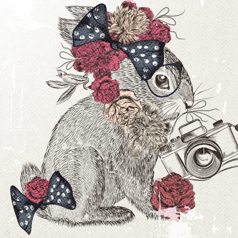 Adatti il fondo con coniglio sveglio e pieghi il fondo d'avanguardia illustrazione vettoriale