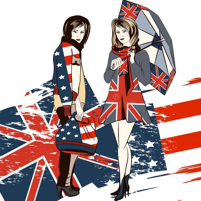 Adatti il fondo d'avanguardia con le ragazze e l'inglese e la bandiera di U.S.A. royalty illustrazione gratis