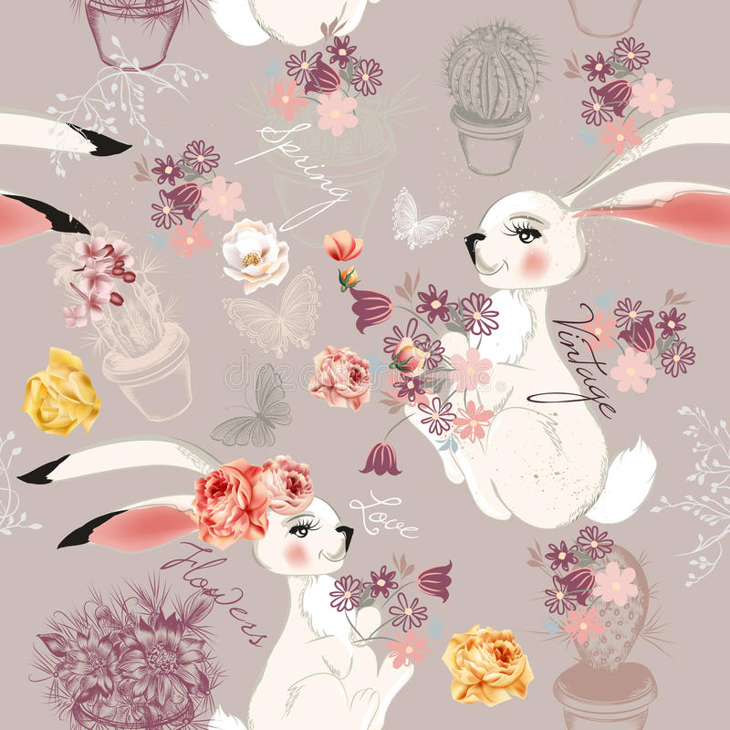 Adatti il fondo senza cuciture di vettore con i conigli o l'ha disegnati a mano royalty illustrazione gratis